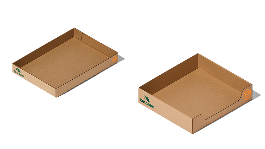 Cascades shipping corrugated trays