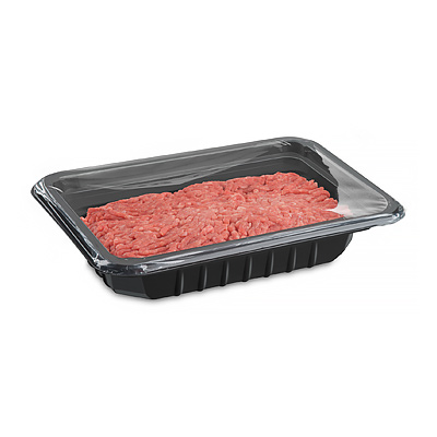 plastic tray with film for fresh food