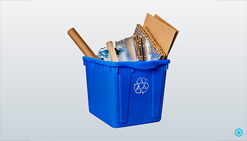 insulated box with cardboard in blue bin