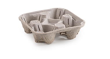 Cascades moulded pulp cup carrier deep